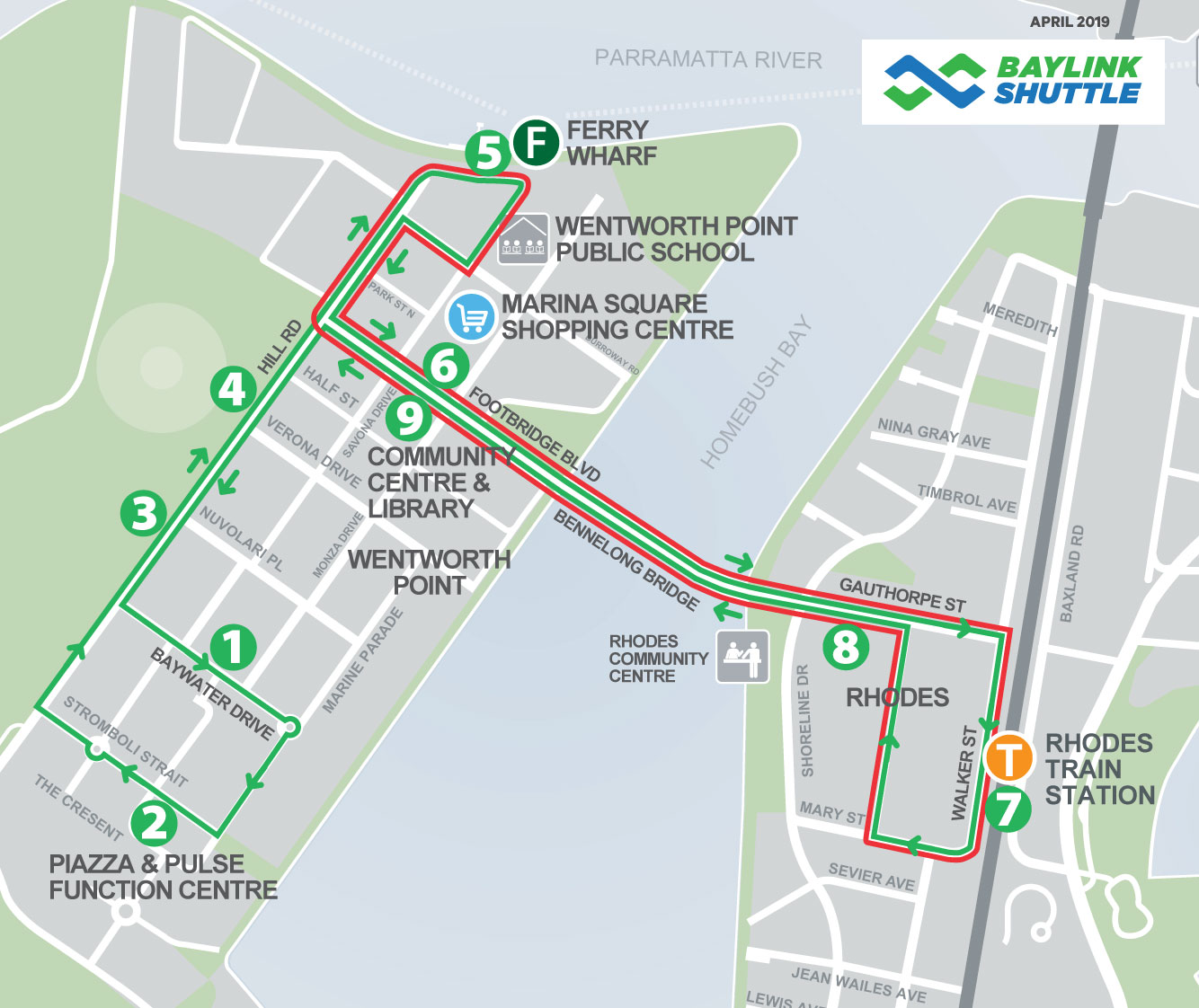 baylink shuttle wentworth point map april 2019